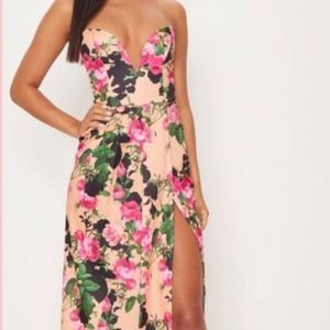Pretty Little Thing Floral Strapless Maxi Dress